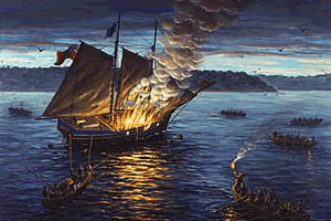 The Burning of the HMS Gaspee by Karl Doerflinger